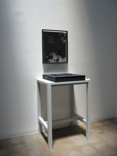 "Installation view of Greg Wilken, ""9 Bouquets for Kathy Fiscus,"" 2010, Framed litho film radiograph, book, case, and table, 23 x 18 inches (58.4 x 45.7 cm), Series of 9"