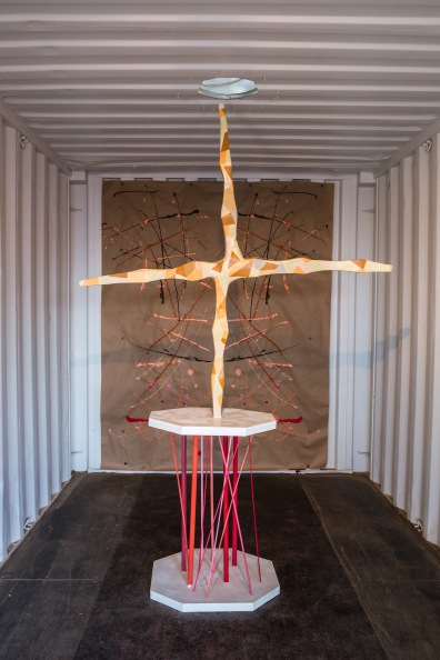 Nora Jean Petersen. Forced Perspective (Wonder Valley), 2013. Wood, Ultracal, Acrylic Paint, Spray Enamel, Aluminum, Paper. Dimensions Variable.