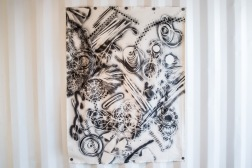 Fay Ray. Primitive Culture: Seven Baskets, 2013. 5 ft x 3ft 9 in. Acrylic paint on raw canvas.