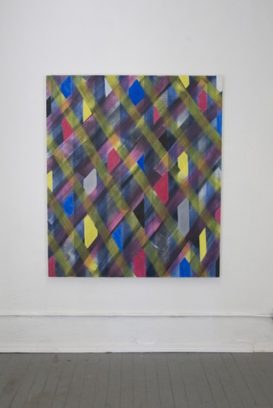 Installation view, Candace Nycz, Five Greys, 2008, oil on canvas, 58 x 50 inches