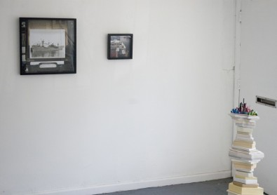 Installation view, from left to right: Heather Rasmussen and detail of Nora Jean Petersen