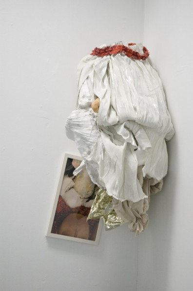 "Jill Spector Untitled, ""Eat Space"" Light-jet print, fabric, wire, mylar, plaster, wood and paper 46 x 23 x 20 inches"