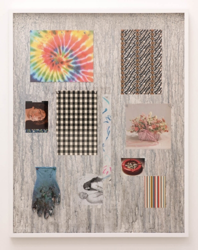 "Amanda Ross-Ho Untitled Still Life (FACEPAINT/TWO VIRGINS), 2014 Sheetrock, acrylic paint, graphite, 'tie-dye"" three-hole folder, vintage wallpaper, found images, acrylic on bond paper, laser prints, acrylic on nitrile glove, aluminum thumbtacks, plastic thumbtacks, maptacks, linen tape 41 x 32 inches (104 x 81.3 cm)"