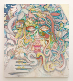 Laurie Nye The Crystal Eater, 2014 Oil and acrylic on canvas 55 x 49 inches (139.7 x 124.46 cm)
