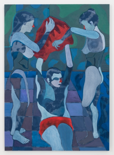 Max Maslansky Pool Boy (Double Bed), 2014 Acrylic and bleach on bed sheet 75 x 53 inches (190.5 x 134.6 cm)