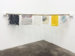 Oliva Booth_ Glint Piece_ 2015 Glass, paint, door bell rods, and wood 24 x 80 x 48 inches 61 x 203.2 x 121.9 cm