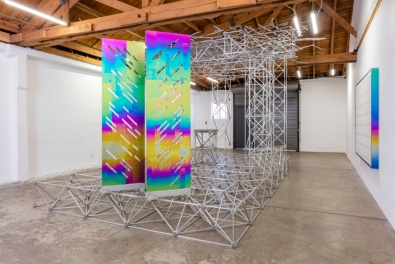 Installation view of Mark Hagen, The Outdoor Type, organized by Gladys-Katherina Hernando, July 11–August 8, 2016, JOAN, Los Angeles, Photo by Joshua White.