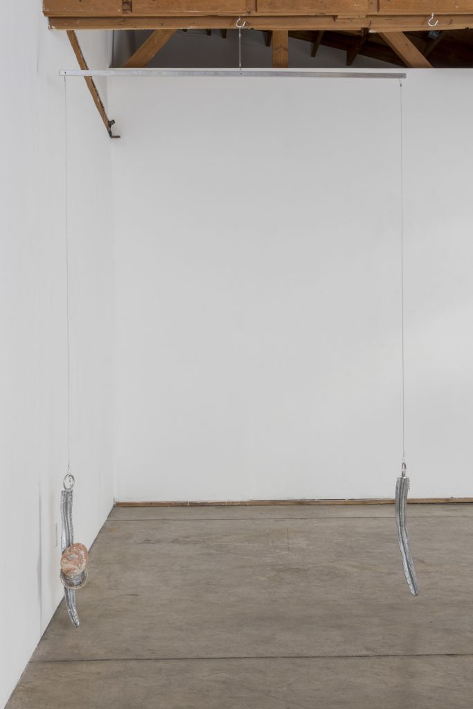 "Installation view of Fay Ray ""Hanging Sculptures,"" JOAN, May 2015, photo by Joshua White"