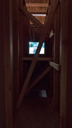 Installation view of Nick Bastis, 3 become 1 and so on and so forth, 2014–2016, 16mm transferred to digital and stereo sound, 00:02:36 minutes loop, JOAN, Los Angeles, June 18 – July 24, 2016.