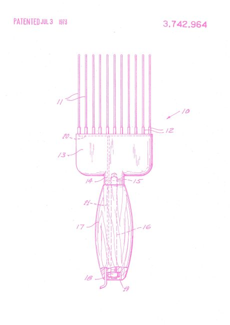 Patent drawing for the Hot Pick Comb, Newbern R, July 3, 1973.