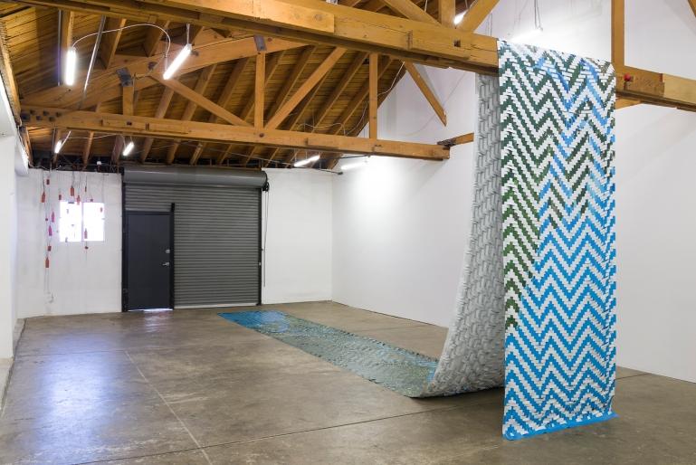 Installation view of Clarissa Tossin: Encontro das Águas (Meeting of Waters), 2016, JOAN, Los Angeles, Photo by Jeff McLane.