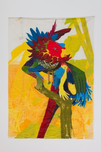 "Yaron Michael Hakim, ""Self-portrait as an Amazona Imperialis Ventralis Pyrrhura,"" 2018, acrylic on used Dacron sailcloth, 72 x 51 1⁄2 inches, Photo by Jeff McLane."